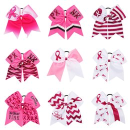 Breast cancer accessories online shopping - Large Cheer Bows With Elastic Band Breast Cancer Awareness Glitter Ribbon Hair Bows For Girls HairBands Girls Hair Accessories
