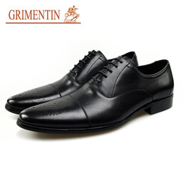 grimentin shoes UK - GRIMENTIN Men Formal Shoes 2020 New Genuine Leather Fashion Black Dress Shoes Brand Wedding Business Shoes Italian Designer Oxfors