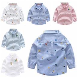 Blouse Cotton Baby Boy Australia - Kids Boys Clothes Baby Printed Cartoon Shirts Boys Striped Blouse Fashion Long Sleeve T Shirts Kids Cotton Tops Designer Lapel Tees B5090