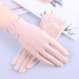 uv long driving gloves Canada - Women's Driving Anti Uv Gloves Sunscreen Gloves Summer Slip-proof Mid-long Style Touch Screen Breathable Silk