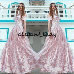 $enCountryForm.capitalKeyWord Australia - Off Shoulder Pink Prom Formal Dresses 2019 Modest Fairy Lace Floral Applique Full length Arabic Dubai Evening Wear Gown