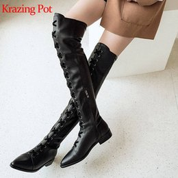 genuine leather over knee boots Australia - krazing pot hot genuine leather lace up low heels pointed toe punk rock design lace up model thigh high over-the-knee boots l11