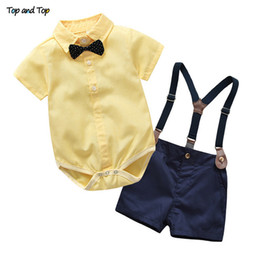$enCountryForm.capitalKeyWord Australia - And Top Toddler Boys Clothing Set Gentleman Suit Kids Short Sleeve Bow Tie Shirt+suspenders Shorts Casual Baby Boy Clothes Q190530