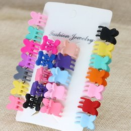hair claws Australia - Cartoon Girls Cute Rabbit Children Hair Gripper Lovely Candy Color Mini Scrub Small Crabs Hair Claw Flower Hair Clips