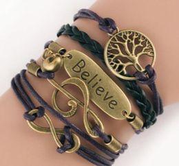 Tree infiniTy love braceleT online shopping - Infinity Charm Bracelets Antique Cross Bracelets Hot sale styles fashion Leather Bracelets Multilayer Heart Tree of Life Jewelry