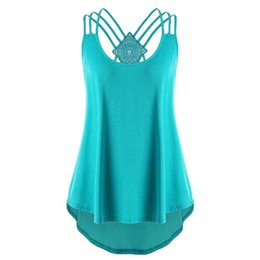Wholesale plus size cut out tops for sale – plus size 2019 Women s Summer Sleeveless Party Blouse Halter Sexy Cut Out A Line Shirt Plus Size Back Tank Tops