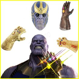 War dress online shopping - Avengers Infinity War Thanos Weapon Infinity Gloves action figures Gem Silicone Headgear Mask Halloween Carnival Cosplay Dress up Props