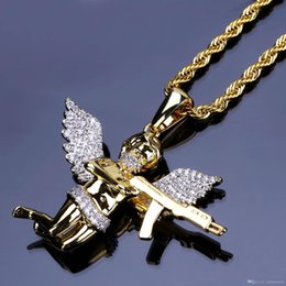 $enCountryForm.capitalKeyWord Australia - Men Full Iced Rhinestone Necklaces, Auniquestyle Cupid Angel Pendant Hip Hop Cuban Chain Necklace Gold Jewelry For Male Micro Pave CZ Stones
