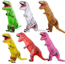 Dinosaur Suit Adults Australia - Inflatable Dinosaur Costume Blow Up Suit Birthday Dress Cosplay Outfit Adult Kids Party Dinosaur Costume Party Supplies CCA10491 3pcs p