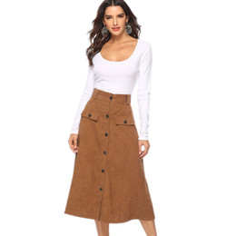 6057e83dc0b Europe and America 2018 autumn and winter Womens Sexy High Waist Skirt  Casual A-line Mid-long Skirts Split Button Pockets Fashion
