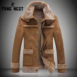 Discount lamb suede - TANGNEST 2018 Winter Mens Fur One Coat Suede Large Size Lamb Fur Lapel Warm Jacket Coat Slim Asian size 5XL MWD064