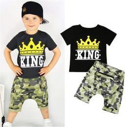 $enCountryForm.capitalKeyWord Australia - 2019 Boys Tops Cotton T Shirt Camo Pants 2 Pcs Outfits Set Clothes New Summer Baby Boy Clothes King Letter Top Camouflage Pants
