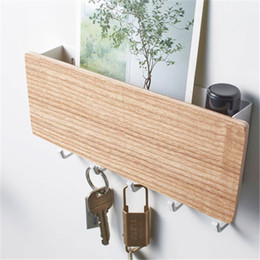 home key rack Canada - Key Hanger Holder Storage Box Bedroom Hook Rack 5 Hooks Display Storage Picture Organizer Shelf Magazine Book Show Home Decor SH190918
