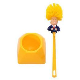 Creative Donald Trump toilettes fournitures Brush Set avec WC Porte-balais Jaune Noir brosses de toilette Base de bain Outils de nettoyage DBC BH3730 en Solde