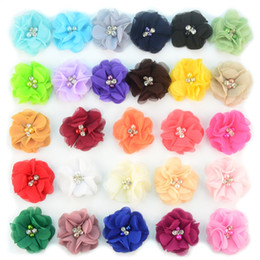 wholesale chiffon flowers Australia - 27colors Chiffon Flowers With Pearl Rhinestone Center Artificial Flower Fabric Flowers Children Hair Accessories Baby Headbands Flower B11