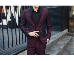 stripe fabric dress Australia - Men's Suit 3 Piece Set ( Suit Jackets + Pants + Vests ) Large Size S-5XL High Quality Dress Men Jacquard Fabric Suit