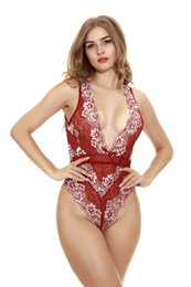 Xl Xxl Women Lace Jumpsuit Australia - Women Sexy Lingerie Tight Height Elasticity Dresses Deep V Sexy Underwear Jumpsuits Pajamas