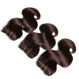 $enCountryForm.capitalKeyWord UK - Brazilian Virgin Hair Brown Body Wave Bundles 200g Short Bob Wave 2# Sew in Hair Extensions Human Hair Curly Wave