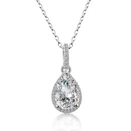 cut coin jewelry UK - AINUOSHI Luxury 3ct Pear Cut Halo Necklace Lover 3 Prongs 925 Sterling Silver Women Engagement Party Lady Necklace Gifts Jewelry Y200107