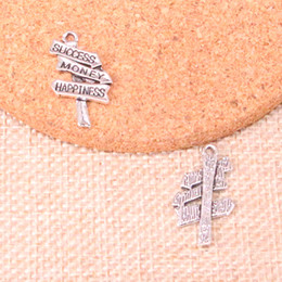 Happiness necklace pendant online shopping - 133pcs Antique Sliver signpost success money happiness Charm Pendant DIY Necklace Bracelet Bangle Findings mm