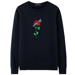 White Rose Pullover UK - 2019 Hot Sale 2018 Brand Autumn Spring Hip Hop Pullover Sweatshirts Men High Quality Hoodie Fashion Rose printing mens hoodies Tops