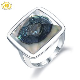9cf7dd4847d22c Hutang Shell Jewelry Rings Natural Abalone Shell Solid 925 Sterling Silver  Ring Fine Jewelry Unique Designfor Women's Best Gift J 190430