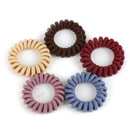 hair spirals bands 2019 - 5Pcs Elastic Cloth Telephone Wire Hair Bands Girls Hair Accessories Rubber Band Headwear Rope Spiral Shape Ties cheap ha