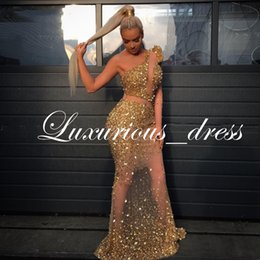 Beaded Illusion Australia - Luxury Beaded Crystal Gold Mermaid Prom Dresses 2019 Long Sleeves One Shoulder Illusion African Evening Gowns Formal Dresses