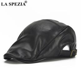 6a28911ededfe La hat red online shopping - LA SPEZIA Genuine Leather Beret Mens Black  Adjustable Flat Cap