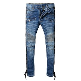$enCountryForm.capitalKeyWord NZ - 2018SS New French Style Fashion Men's Jeans High Quality Blue Color Skinny Fit Spliced Ripped Jeans High Street Destroyed Biker Denim Jeans