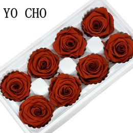 Discount preserve flowers - O CHO Artificial Flowers Rose Artificielle 4 5CM Preserved Eternal Roses Box Newyear Valentine YO CHO Artificial Flowers