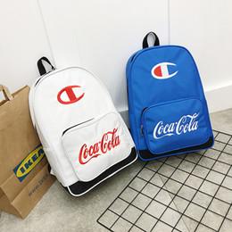 Discount girl laptop satchel - Boys Girl Champion School Satchels Backpack Logo Strap Shoulder Bag For Kids Travel Duffel Bag Oxford Fabric Packsack La