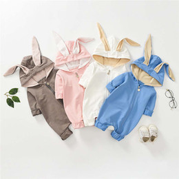 Winter rompers for toddler girls online shopping - Winter Fall INS Toddler Baby Boys Girls Hoodies Rompers Hooded Jumpsuits Long Sleeve Cat Ears Front Oblique Zippy Newborn Onesies for T