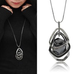 Fashion big long necklaces online shopping - Statement Bib Necklaces For Women Long Chain Necklace Pendant Fashion Big Black Rhinestone Crystal Pendants Choker Necklaces
