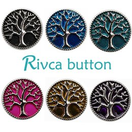 oil painting jewelry Australia - Wholesale-D00158 Wholesale 6pcslot Oil Painting Tree Of Life Metal Snap Button Bracelet For Women Rivca 18mm Charm Snap Button Jewelry