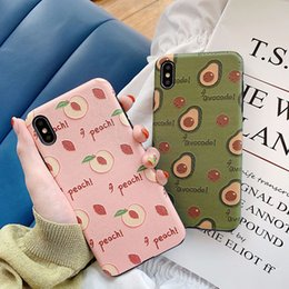 $enCountryForm.capitalKeyWord NZ - For Iphone Xr Xs Max Phone Case Fresh Fruit Avocado Peaches 6 7 8 X Plus Silk Embossed IMD Soft Cell Phone Cases