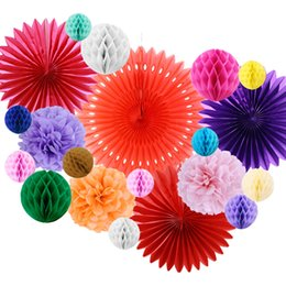 party decoration honeycomb NZ - Mexican Party Fiesta Decorations 20pcs set Tissue Paper Fans Honeycomb Balls For Wedding Birthday Events Festival Party Supplies SH190925