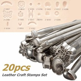 20pcs DIY Alloy Metal Leather Working Saddle Making Tools Set Carving Craft Stamps Leathercraft Staming Solid