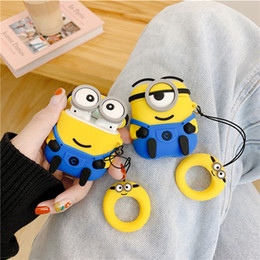cute silicone cases Canada - Cute 3D cartoon Minions Soft silicone case For Apple airpods Protective cover For airpods 2 charging box TWS headset earphone bag