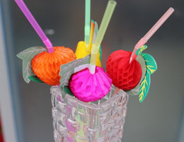 baby shower favor craft wholesale UK - festival supplies drinking plastic straws for Birthday Wedding Hen Party baby shower gift craft DIY favor fruit design
