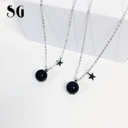Sterling Silver Chains Women Australia - SG 2019 new arrival 925 Sterling silver Ball Bead Blue Sand necklaces pendants fit fashion jewelry chain necklace women for gift