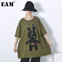 Wholesale EAM New Spring Summer O Neck Short Sleeve Organza Sequins Stitching Big Size Long T shirt Women Fashion Tide JE94