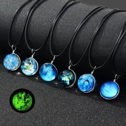 Vintage Girl Glasses Australia - 7pcs lots New Handmade Double Sided Glass Ball Noctilucent Pendant Necklace Harajuku Universe Dream Starry Sky Vintage Girl Party Jewelry