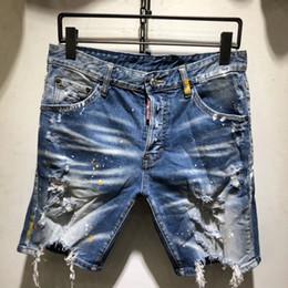 $enCountryForm.capitalKeyWord Australia - Men Denim Jeans Shorts Hole Paint dot Brand Pants Skinny Simple casual Comfortable Male Destroyed short Jeans AAA1959