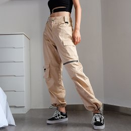 Canvas Pants Australia - Autumn New Products Hot Selling Zipper Adjustment Button Leisure Pants Loose Tool Pants Street Style Trendy Lady
