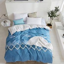 Discount queen pink comforter cover Blue Fashion Rectangle Pattern Cotton Duvet Cover Comforter Quilt  Case 100% Cotton With Zipper Twin Full Queen King Siz