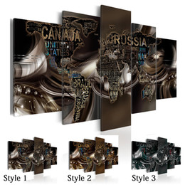$enCountryForm.capitalKeyWord Australia - Fashion Wall Art Canvas Painting 5 Pieces Brown Diamond Abstract Letter Word Map Modern Home Decoration,Choose Color And Size No Frame