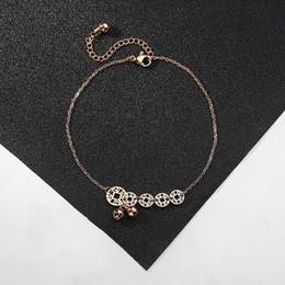 $enCountryForm.capitalKeyWord Australia - Red rope four-leaf clover bracelet copper money small lock anklet four-leaf clover pendant bead chain geometry Roman bracelet jewelry