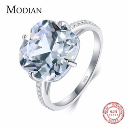 Pigeons Rings Australia - Modian 925 Sterling Silver Ring The Pigeon Egg Cubic Zirconia Fashion Luxury Wedding Band Anniversary Jewelry For Women Gift C19041601