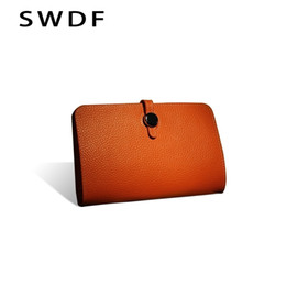 cowhide bags purses UK - Luxury Genuine Leather Women Wallet 2019 Female Designer Wallets Famous Brand Women Wallet Ladies Leather Purse Money Bag Purses Y19052302